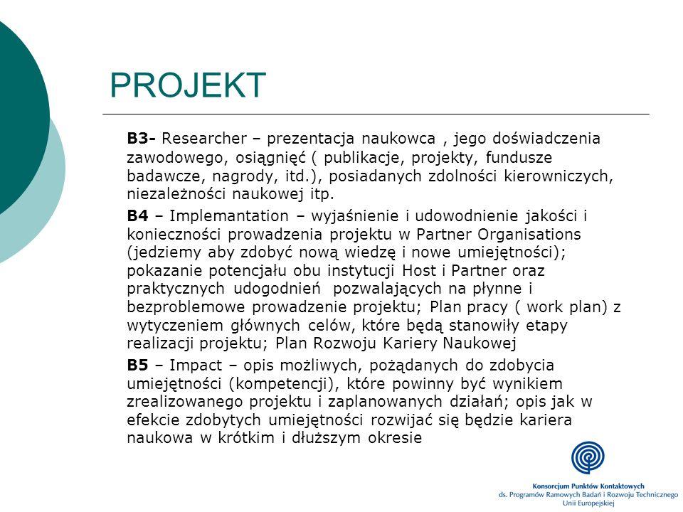 PROJEKT B3- Researcher – prezentacja naukowca, jego doświadczenia zawodowego, osiągnięć ( publikacje, projekty, fundusze badawcze, nagrody, itd.), pos
