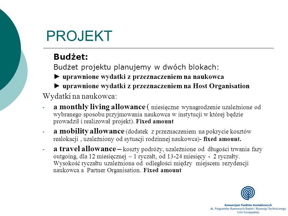 PROJEKT Budżet: Budżet projektu planujemy w dwóch blokach: uprawnione wydatki z przeznaczeniem na naukowca uprawnione wydatki z przeznaczeniem na Host