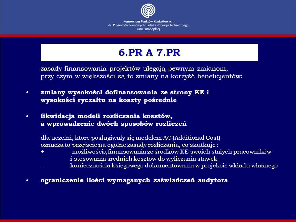 zmiany terminologiczne 6.PR A 7.PR kontrakt (contract) umowa o dotację (grant agreement) wykonawca (contractor) beneficjent (beneficiary) instrumenty (instruments) systemy finansowania (funding schemes) certyfikat audytora (audit certificate) świadectwo kontroli sprawozdań finansowych (certificate on the financial statements)