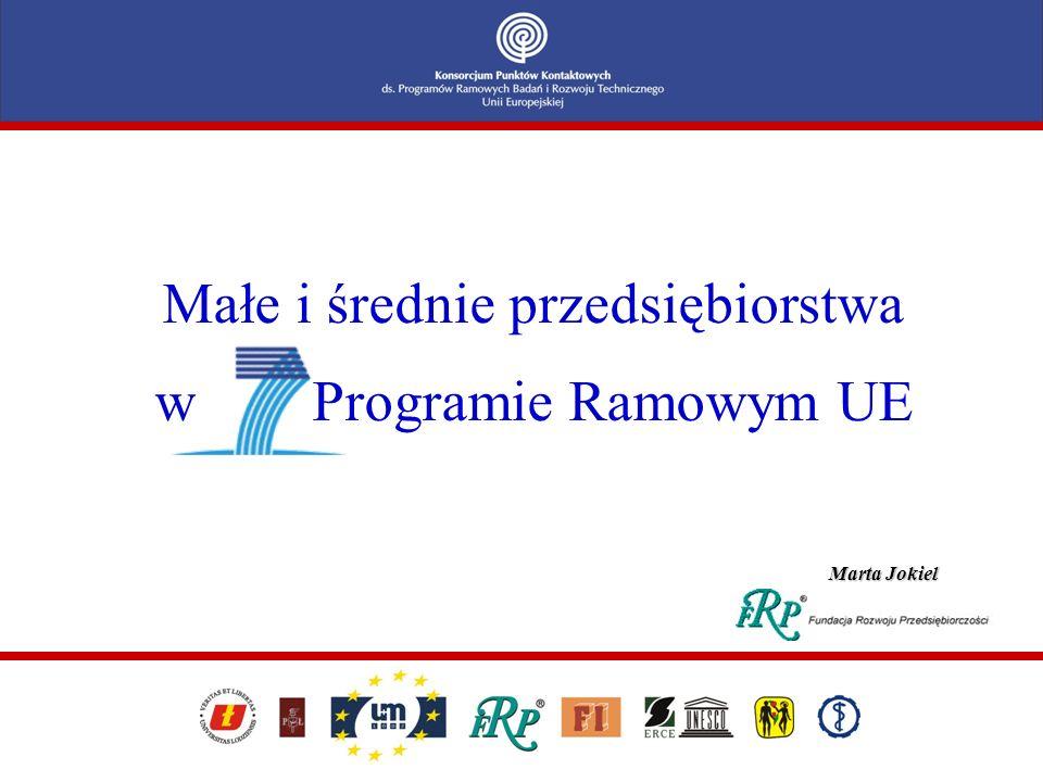Małe i średnie przedsiębiorstwa w Programie Ramowym UE Marta Jokiel