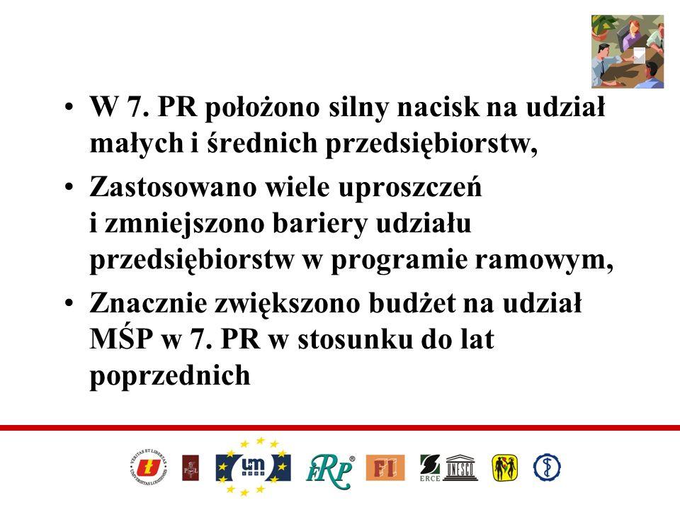 W 7. PR położono silny nacisk na udział małych i średnich przedsiębiorstw, Zastosowano wiele uproszczeń i zmniejszono bariery udziału przedsiębiorstw