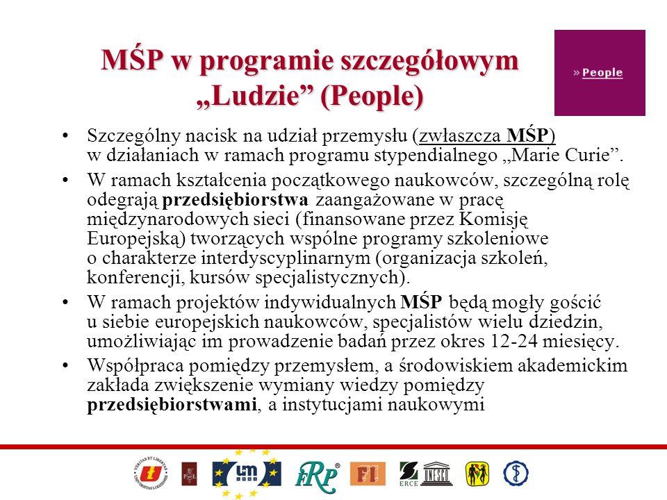 MŚP w programie szczegółowym Ludzie (People) Szczególny nacisk na udział przemysłu (zwłaszcza MŚP) w działaniach w ramach programu stypendialnego Mari