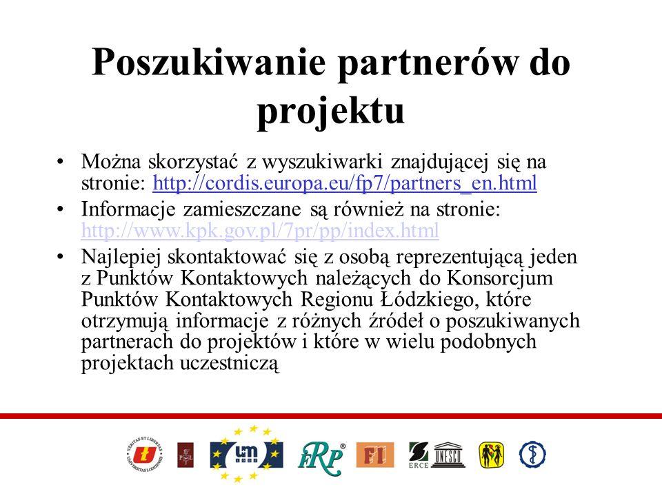 Można skorzystać z wyszukiwarki znajdującej się na stronie: http://cordis.europa.eu/fp7/partners_en.html Informacje zamieszczane są również na stronie