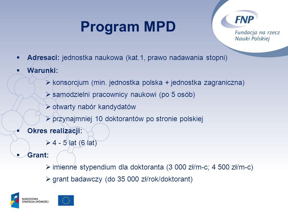 11 Program MPD Adresaci: jednostka naukowa (kat.1, prawo nadawania stopni) Warunki: konsorcjum (min. jednostka polska + jednostka zagraniczna) samodzi
