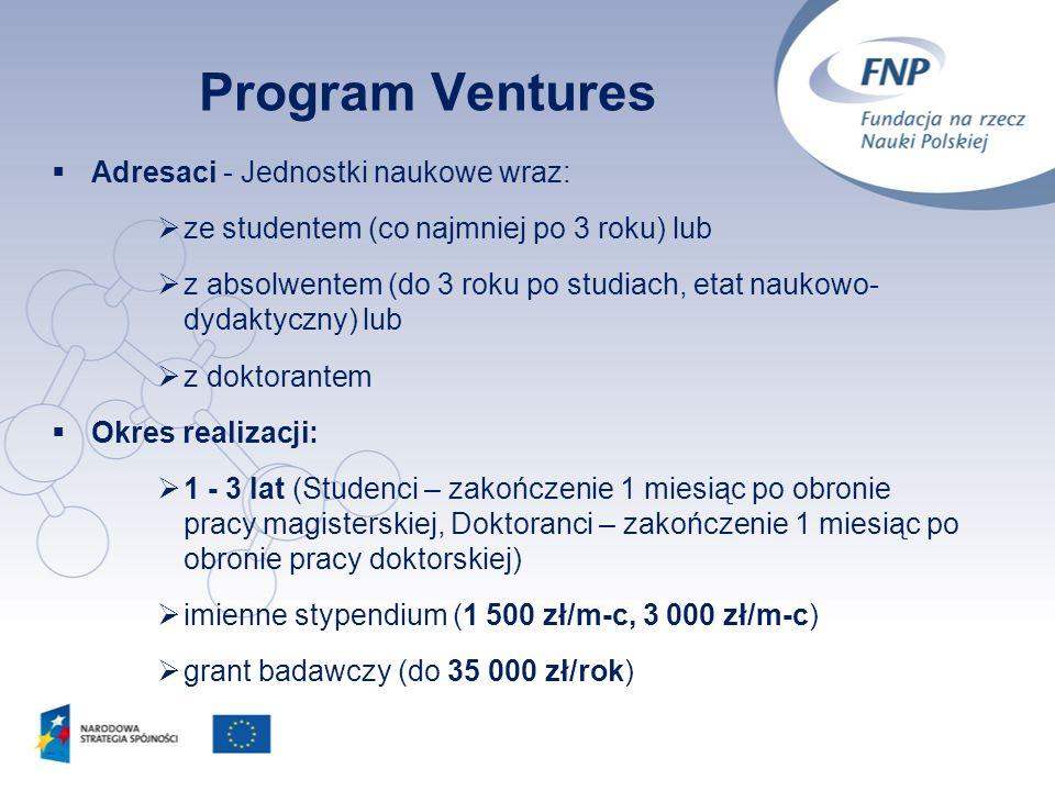 3 Program Ventures Adresaci - Jednostki naukowe wraz: ze studentem (co najmniej po 3 roku) lub z absolwentem (do 3 roku po studiach, etat naukowo- dyd