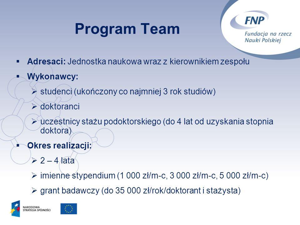 7 Program Team Adresaci: Jednostka naukowa wraz z kierownikiem zespołu Wykonawcy: studenci (ukończony co najmniej 3 rok studiów) doktoranci uczestnicy