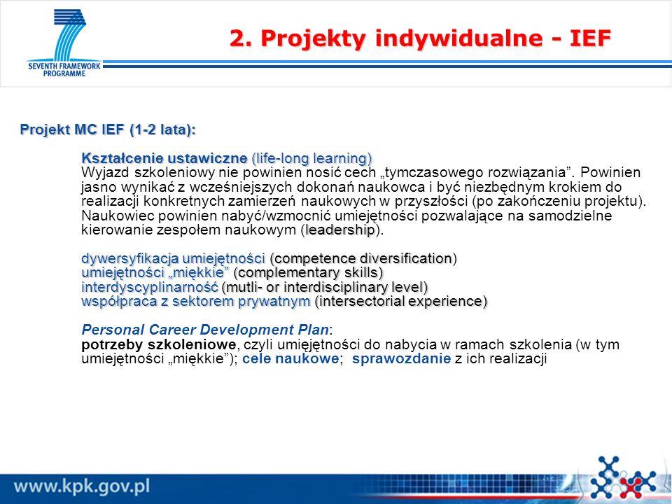 Projekt MC IEF (1-2 lata): Kształcenie ustawiczne (life-long learning) leadership dywersyfikacja umiejętności(competence diversification umiejętności miękkie(complementary skills) interdyscyplinarność (mutli- or interdisciplinary level) współpraca z sektorem prywatnym (intersectorial experience) Projekt MC IEF (1-2 lata): Kształcenie ustawiczne (life-long learning) Wyjazd szkoleniowy nie powinien nosić cech tymczasowego rozwiązania.