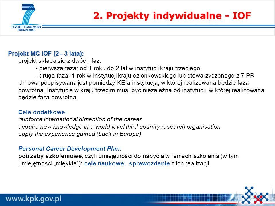 Projekt MC IOF (2– 3 lata): Projekt MC IOF (2– 3 lata): projekt składa się z dwóch faz: - pierwsza faza: od 1 roku do 2 lat w instytucji kraju trzeciego - druga faza: 1 rok w instytucji kraju członkowskiego lub stowarzyszonego z 7.PR Umowa podpisywana jest pomiędzy KE a instytucją, w której realizowana będzie faza powrotna.