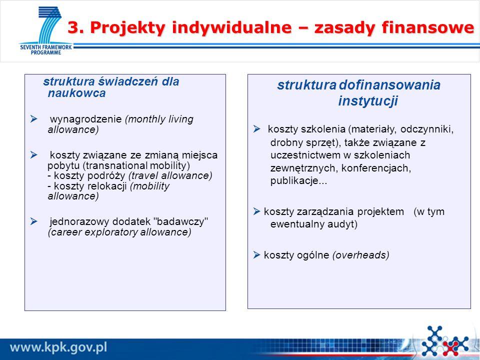 3. Projekty indywidualne – zasady finansowe struktura świadczeń dla naukowca wynagrodzenie (monthly living allowance) koszty związane ze zmianą miejsc