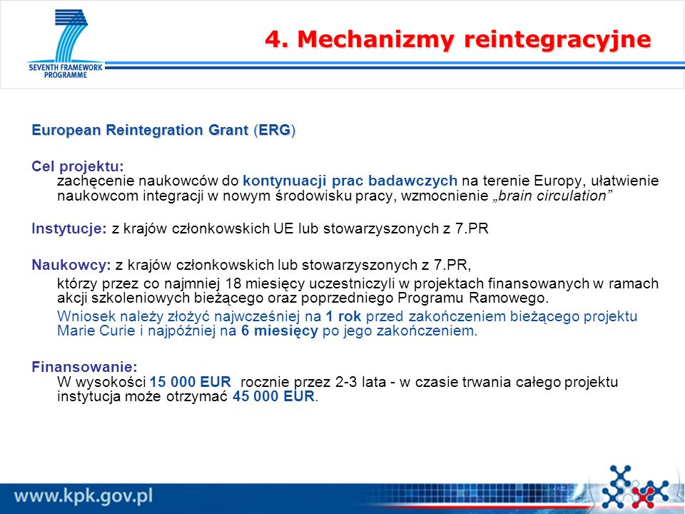 European Reintegration Grant (ERG) Cel projektu: zachęcenie naukowców do kontynuacji prac badawczych na terenie Europy, ułatwienie naukowcom integracji w nowym środowisku pracy, wzmocnienie brain circulation Instytucje: z krajów członkowskich UE lub stowarzyszonych z 7.PR Naukowcy: z krajów członkowskich lub stowarzyszonych z 7.PR, którzy przez co najmniej 18 miesięcy uczestniczyli w projektach finansowanych w ramach akcji szkoleniowych bieżącego oraz poprzedniego Programu Ramowego.
