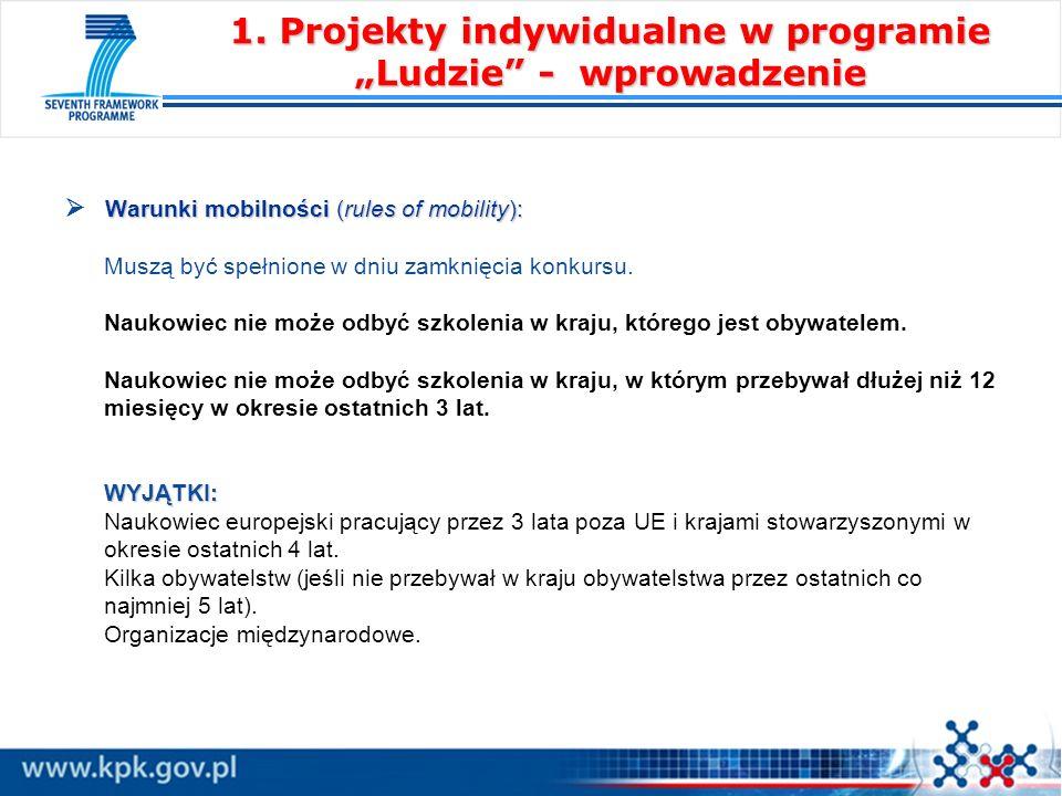 Warunki mobilności (rules of mobility): WYJĄTKI: Warunki mobilności (rules of mobility): Muszą być spełnione w dniu zamknięcia konkursu. Naukowiec nie