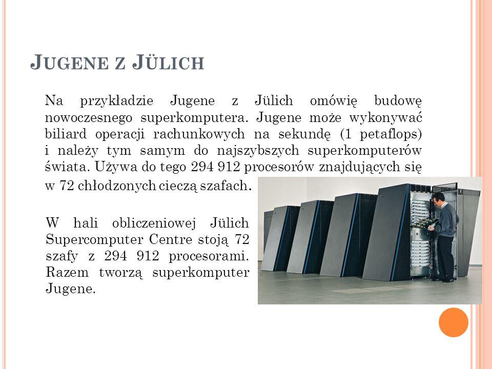 J UGENE Z J ÜLICH Na przykładzie Jugene z Jülich omówię budowę nowoczesnego superkomputera. Jugene może wykonywać biliard operacji rachunkowych na sek