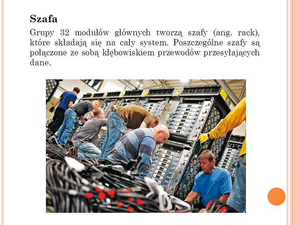 Szafa Grupy 32 modułów głównych tworzą szafy (ang. rack), które składają się na cały system. Poszczególne szafy są połączone ze sobą kłębowiskiem prze
