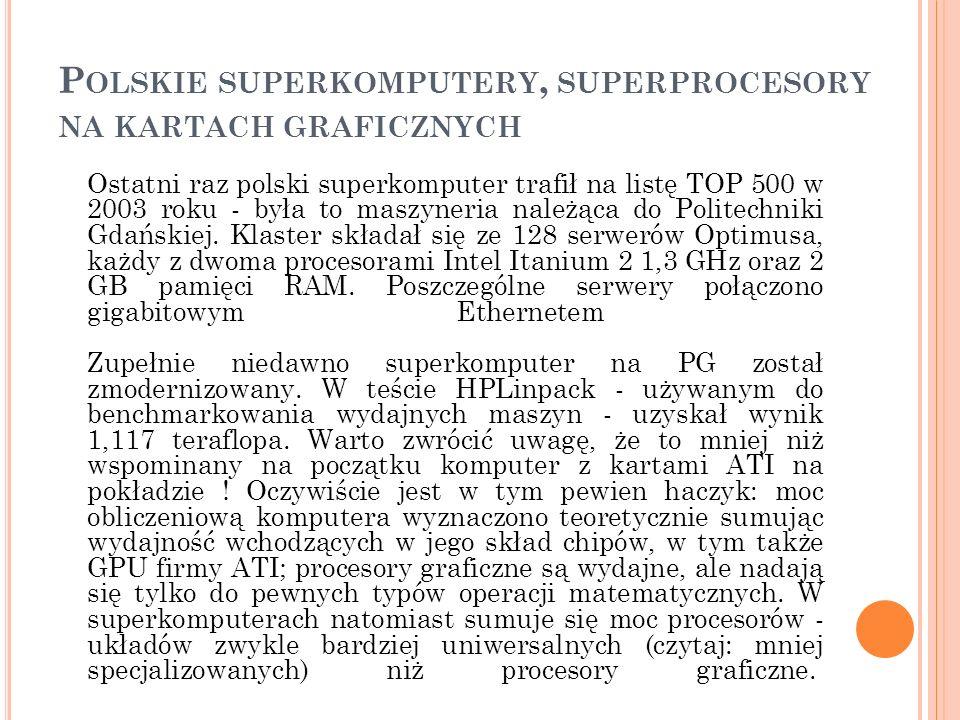 P OLSKIE SUPERKOMPUTERY, SUPERPROCESORY NA KARTACH GRAFICZNYCH Ostatni raz polski superkomputer trafił na listę TOP 500 w 2003 roku - była to maszyner
