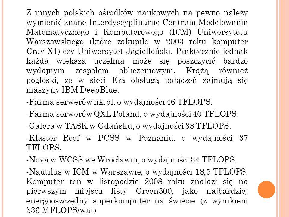 Z innych polskich ośrodków naukowych na pewno należy wymienić znane Interdyscyplinarne Centrum Modelowania Matematycznego i Komputerowego (ICM) Uniwer