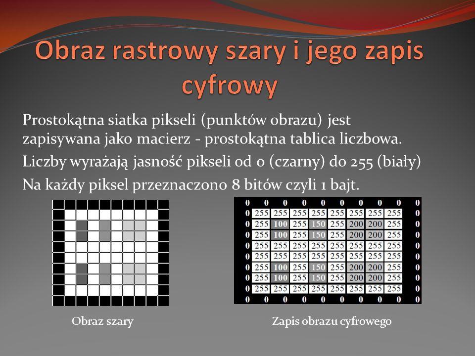 Prostokątna siatka pikseli (punktów obrazu) jest zapisywana jako macierz - prostokątna tablica liczbowa. Liczby wyrażają jasność pikseli od 0 (czarny)