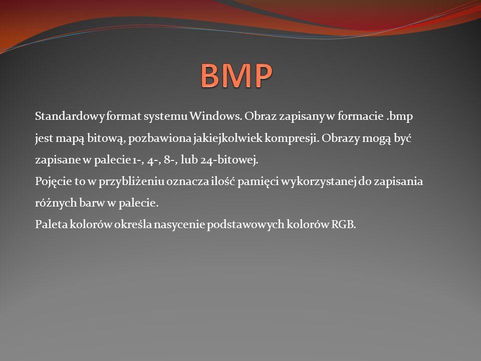 Standardowy format systemu Windows. Obraz zapisany w formacie.bmp jest mapą bitową, pozbawiona jakiejkolwiek kompresji. Obrazy mogą być zapisane w pal