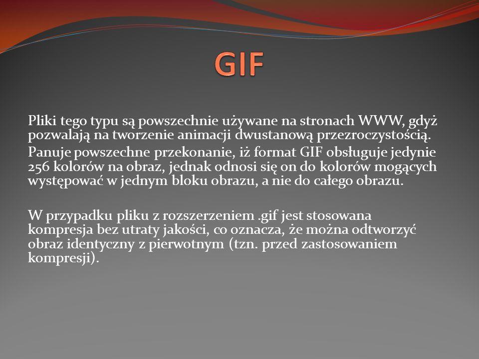 Pliki tego typu są powszechnie używane na stronach WWW, gdyż pozwalają na tworzenie animacji dwustanową przezroczystością. Panuje powszechne przekonan