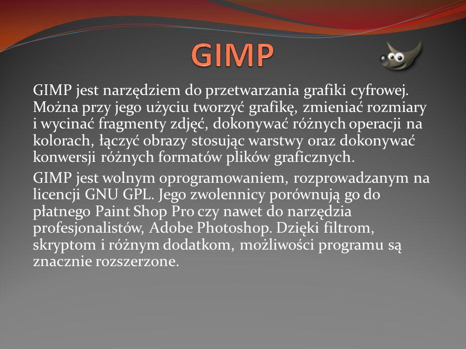 GIMP jest narzędziem do przetwarzania grafiki cyfrowej. Można przy jego użyciu tworzyć grafikę, zmieniać rozmiary i wycinać fragmenty zdjęć, dokonywać