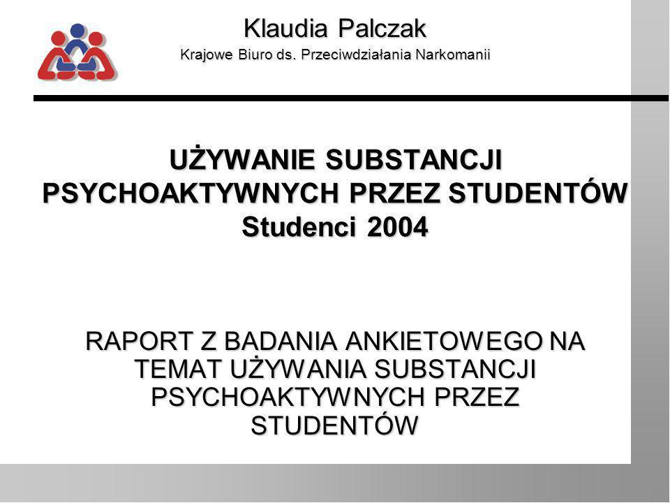 Klaudia Palczak, Centrum Informacji o Narkotykach i Narkomanii Wprowadzenie Badanie przeprowadzone zostało inicjatywy Barbary Labudy, Sekretarza Stanu w Kancelarii Prezydenta RP, w ramach akcji Uczelnie Wolne od Narkotyków.