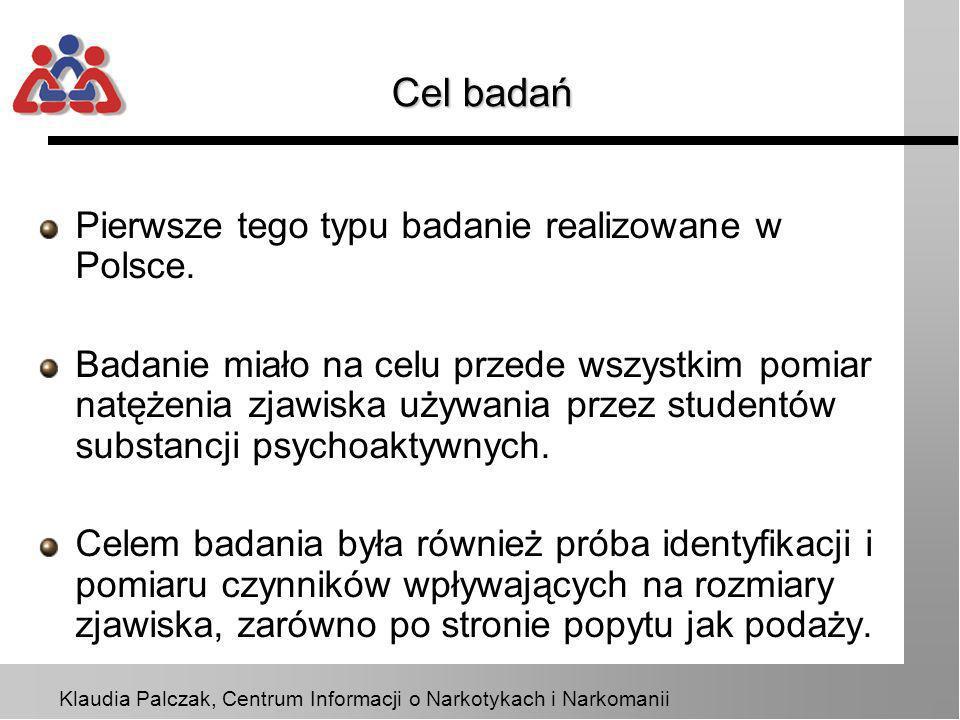 Klaudia Palczak, Centrum Informacji o Narkotykach i Narkomanii Metoda Badanie zostało zrealizowane metodą ankietową z zastosowaniem kwestionariusza do samodzielnego wypełnienia.