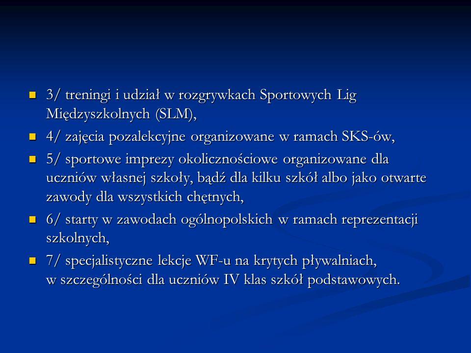3/ treningi i udział w rozgrywkach Sportowych Lig Międzyszkolnych (SLM), 3/ treningi i udział w rozgrywkach Sportowych Lig Międzyszkolnych (SLM), 4/ z