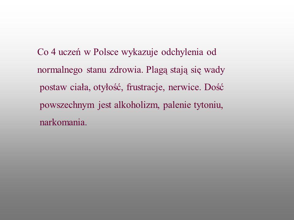 Co 4 uczeń w Polsce wykazuje odchylenia od normalnego stanu zdrowia. Plagą stają się wady postaw ciała, otyłość, frustracje, nerwice. Dość powszechnym