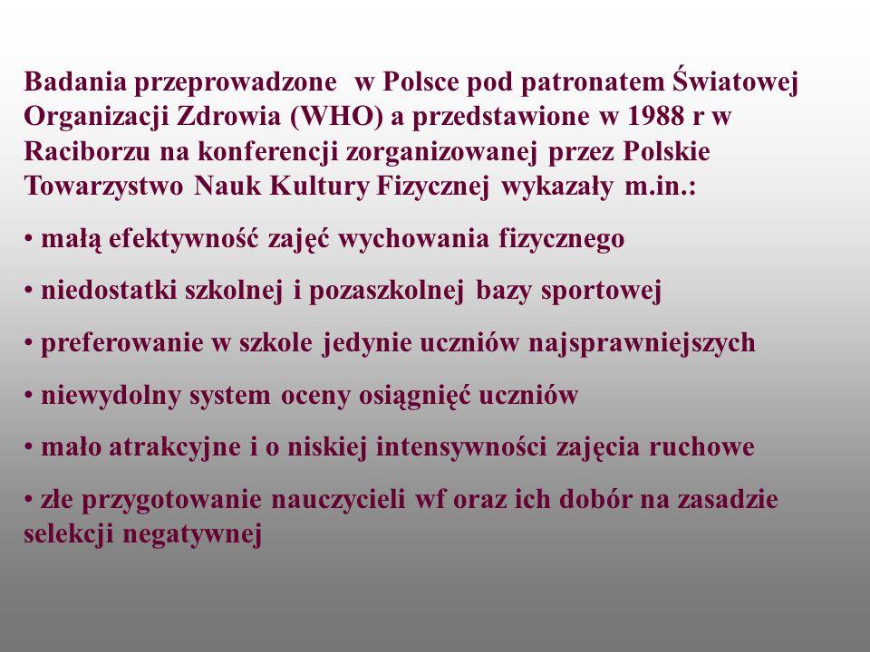W 1996 r w Narodowym Programie Zdrowia zapisano Społeczeństwo polskie cechuje niska aktywność fizyczna.