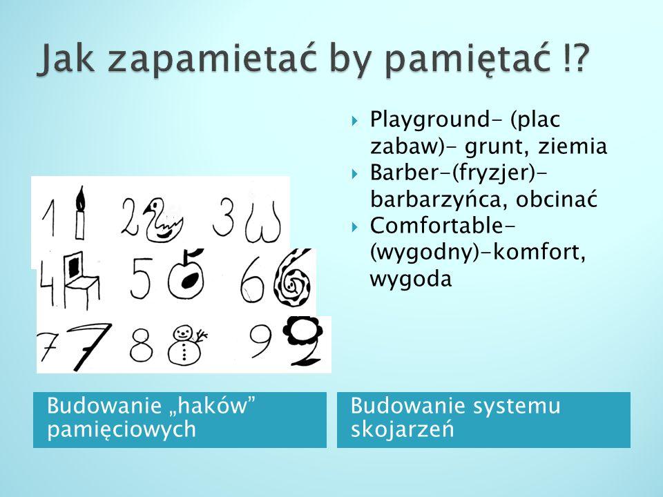 Budowanie haków pamięciowych Budowanie systemu skojarzeń Playground- (plac zabaw)- grunt, ziemia Barber-(fryzjer)- barbarzyńca, obcinać Comfortable- (