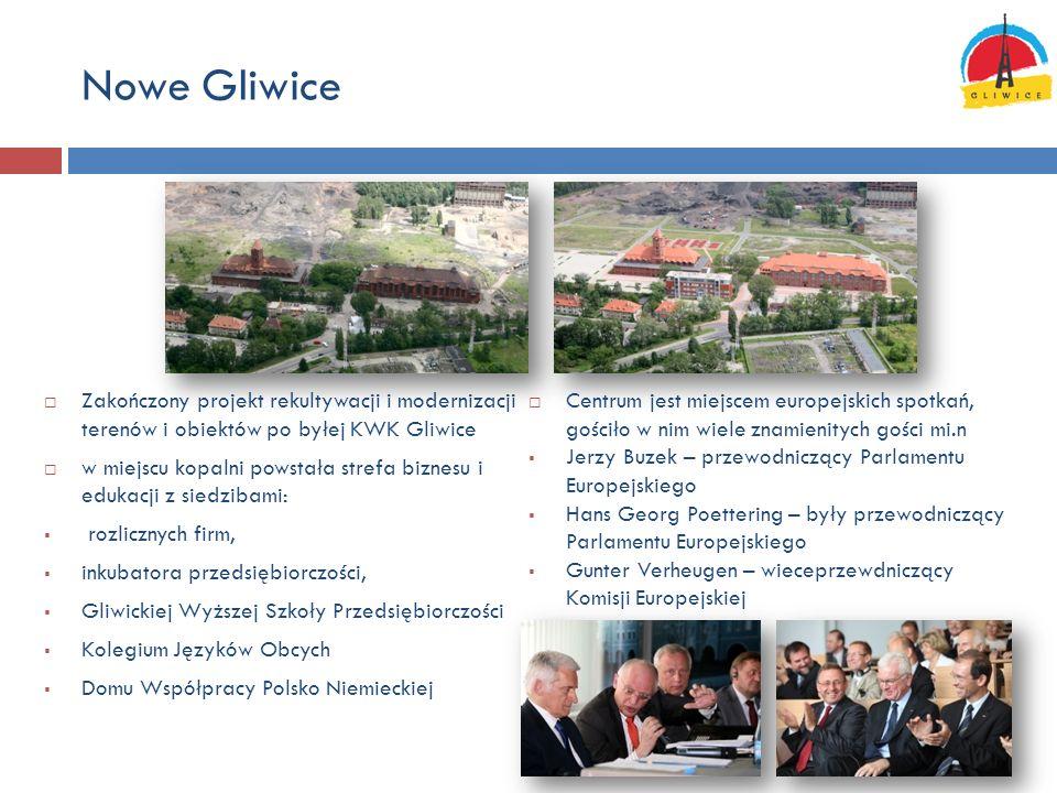 Nowe Gliwice Zakończony projekt rekultywacji i modernizacji terenów i obiektów po byłej KWK Gliwice w miejscu kopalni powstała strefa biznesu i edukac