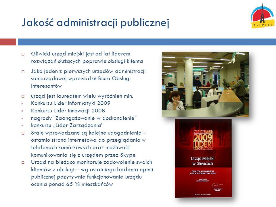 Jakość administracji publicznej Gliwicki urząd miejski jest od lat liderem rozwiązań służących poprawie obsługi klienta Jako jeden z pierwszych urzędó