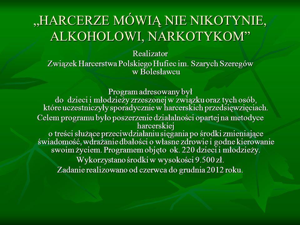 HARCERZE MÓWIĄ NIE NIKOTYNIE, ALKOHOLOWI, NARKOTYKOM Realizator Związek Harcerstwa Polskiego Hufiec im.