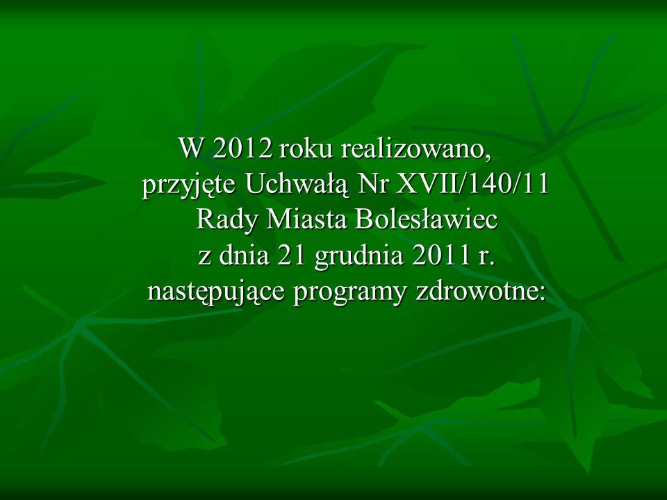 W 2012 roku realizowano, przyjęte Uchwałą Nr XVII/140/11 Rady Miasta Bolesławiec z dnia 21 grudnia 2011 r.