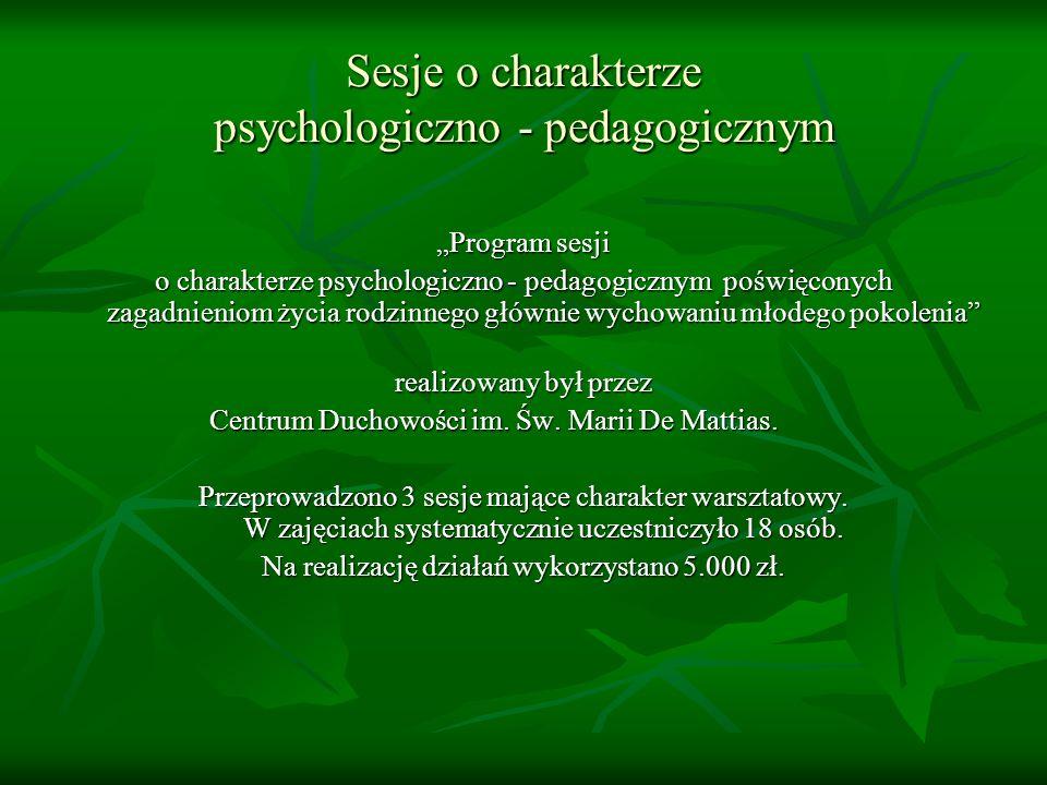 Sesje o charakterze psychologiczno - pedagogicznym Program sesji o charakterze psychologiczno - pedagogicznym poświęconych zagadnieniom życia rodzinnego głównie wychowaniu młodego pokolenia realizowany był przez Centrum Duchowości im.