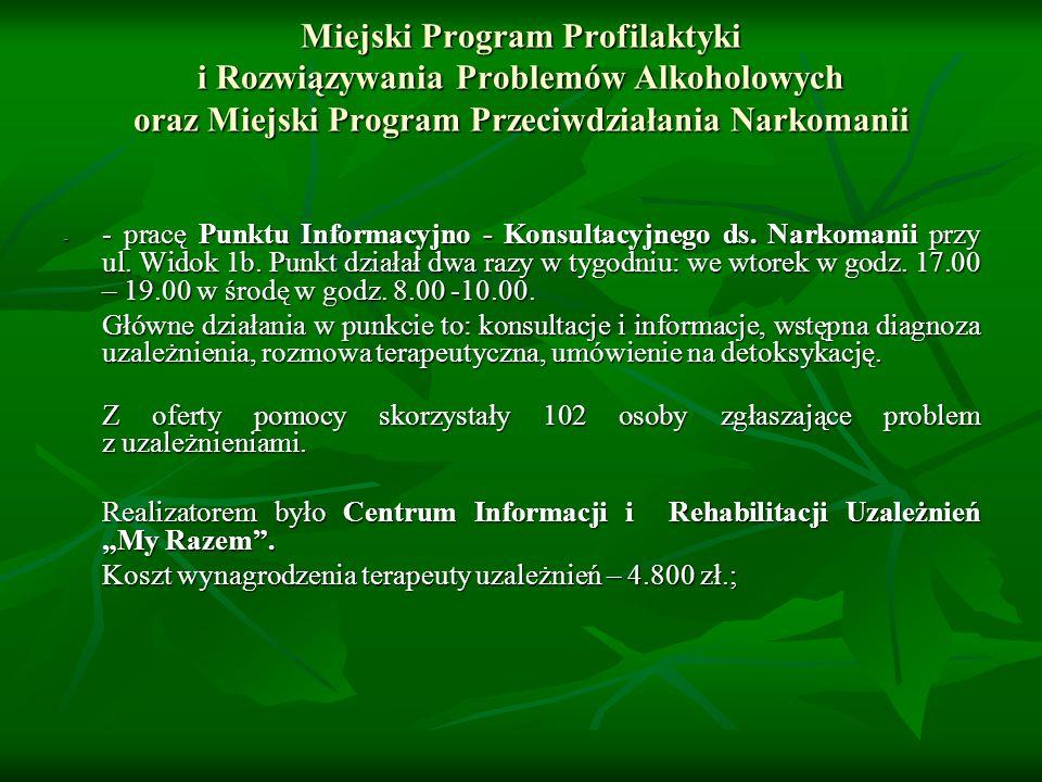 Miejski Program Profilaktyki i Rozwiązywania Problemów Alkoholowych oraz Miejski Program Przeciwdziałania Narkomanii - - pracę Punktu Informacyjno - Konsultacyjnego ds.