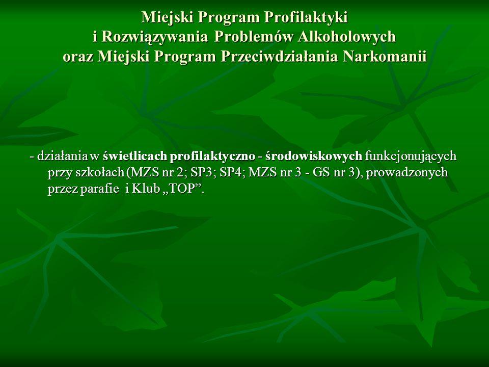 Miejski Program Profilaktyki i Rozwiązywania Problemów Alkoholowych oraz Miejski Program Przeciwdziałania Narkomanii - działania w świetlicach profilaktyczno - środowiskowych funkcjonujących przy szkołach (MZS nr 2; SP3; SP4; MZS nr 3 - GS nr 3), prowadzonych przez parafie i Klub TOP.