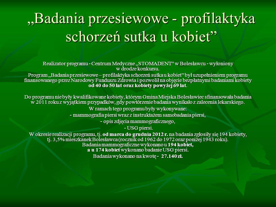 Badania przesiewowe - profilaktyka schorzeń sutka u kobiet Realizator programu - Centrum Medyczne STOMADENT w Bolesławcu - wyłoniony w drodze konkursu.