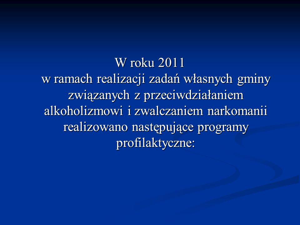 W roku 2011 w ramach realizacji zadań własnych gminy związanych z przeciwdziałaniem alkoholizmowi i zwalczaniem narkomanii realizowano następujące pro