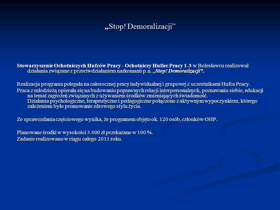 Stop! DemoralizacjiStop! Demoralizacji Stowarzyszenie Ochotniczych Hufców Pracy - Ochotniczy Hufiec Pracy 1-3 w Bolesławcu realizował działania związa