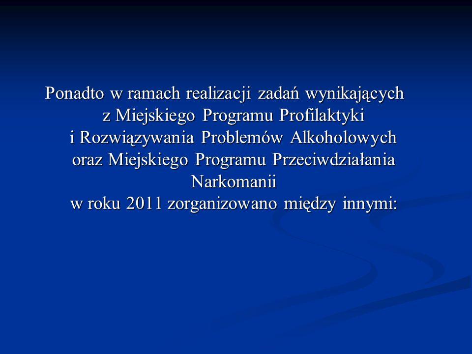 Ponadto w ramach realizacji zadań wynikających z Miejskiego Programu Profilaktyki i Rozwiązywania Problemów Alkoholowych oraz Miejskiego Programu Prze
