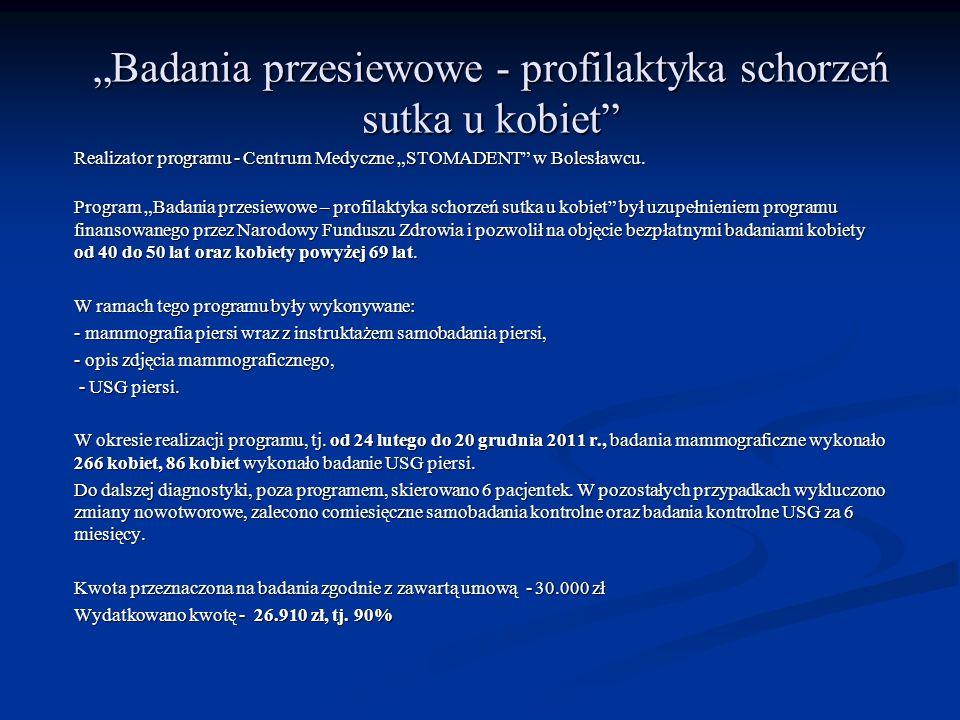 Badania przesiewowe - profilaktyka schorzeń sutka u kobiet Realizator programu - Centrum Medyczne STOMADENT w Bolesławcu. Program Badania przesiewowe