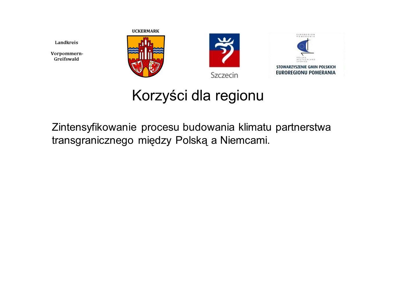 Korzyści dla regionu Zintensyfikowanie procesu budowania klimatu partnerstwa transgranicznego między Polską a Niemcami.