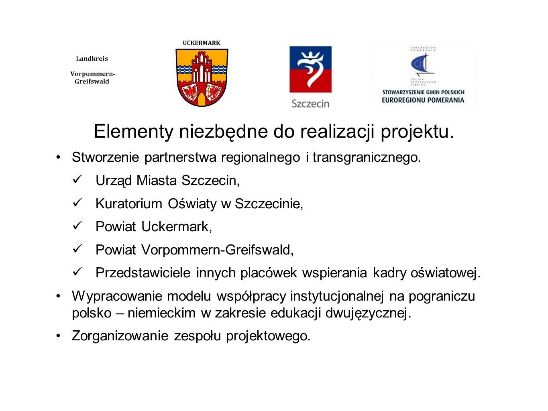 Elementy niezbędne do realizacji projektu. Stworzenie partnerstwa regionalnego i transgranicznego. Urząd Miasta Szczecin, Kuratorium Oświaty w Szczeci