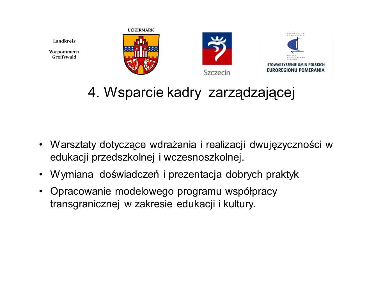 4. Wsparcie kadryzarządzającej Warsztaty dotyczące wdrażania i realizacji dwujęzyczności w edukacji przedszkolnej i wczesnoszkolnej. Wymiana doświadcz