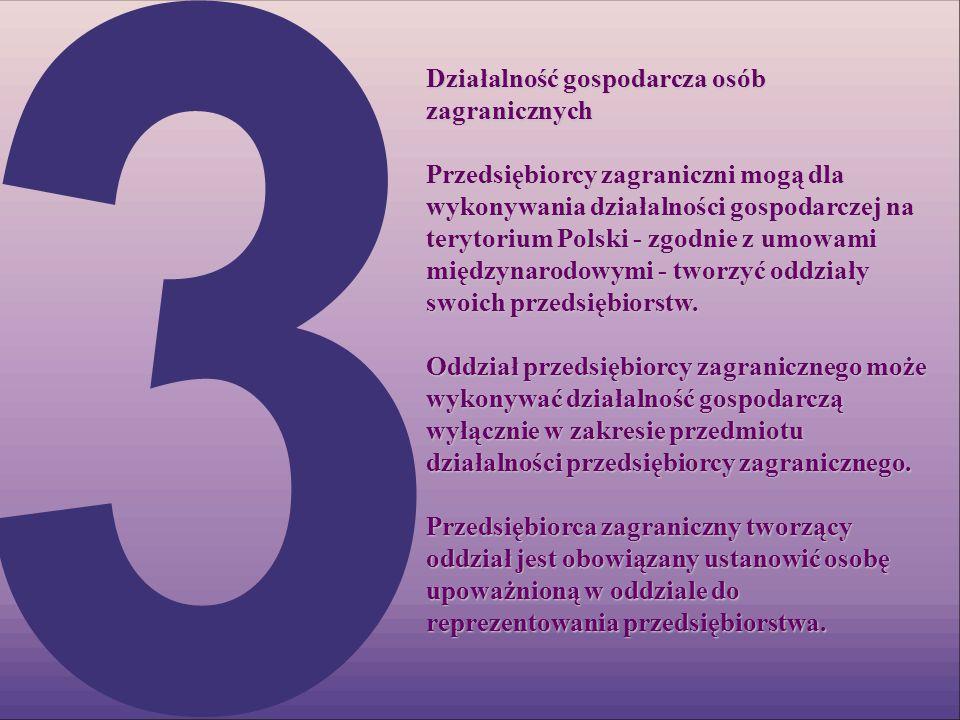 Działalność gospodarcza osób zagranicznych Przedsiębiorcy zagraniczni mogą dla wykonywania działalności gospodarczej na terytorium Polski - zgodnie z