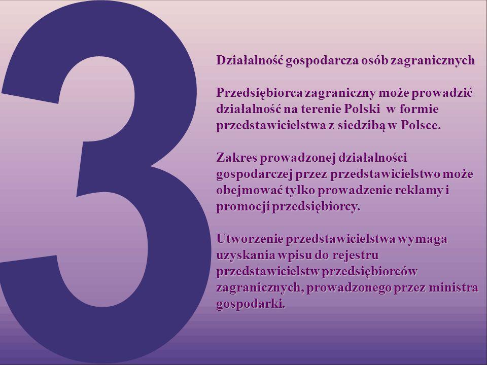 Działalność gospodarcza osób zagranicznych Przedsiębiorca zagraniczny może prowadzić działalność na terenie Polski w formie przedstawicielstwa z siedz