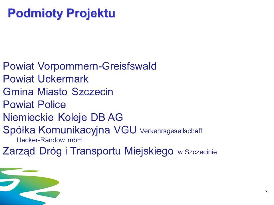 Podmioty Projektu Powiat Vorpommern-Greisfswald Powiat Uckermark Gmina Miasto Szczecin Powiat Police Niemieckie Koleje DB AG Spółka Komunikacyjna VGU