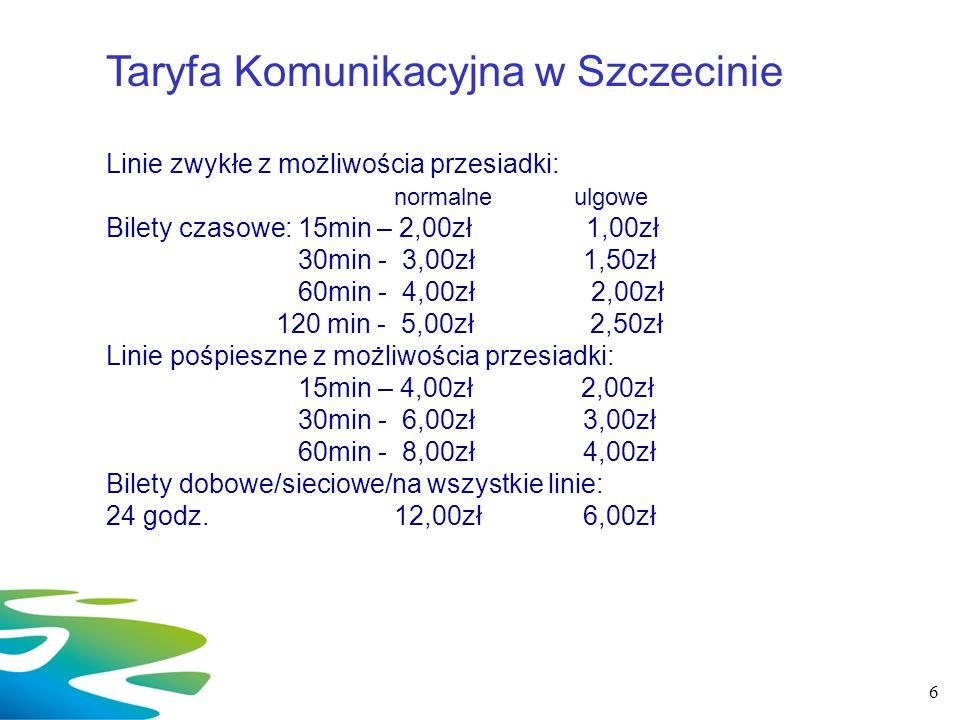 6 Taryfa Komunikacyjna w Szczecinie Linie zwykłe z możliwościa przesiadki: normalne ulgowe Bilety czasowe: 15min – 2,00zł1,00zł 30min - 3,00zł 1,50zł