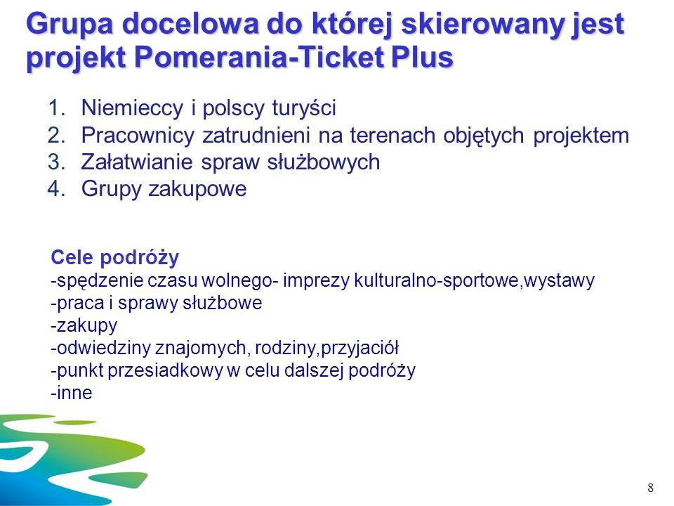 Grupa docelowa do której skierowany jest projekt Pomerania-Ticket Plus 1.Niemieccy i polscy turyści 2.Pracownicy zatrudnieni na terenach objętych proj
