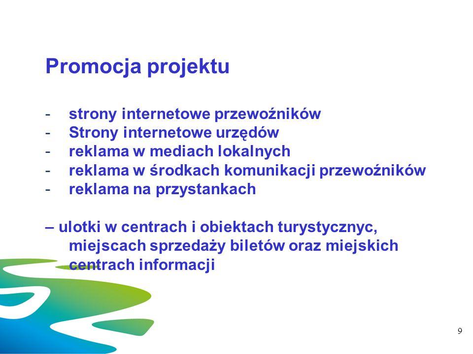 Promocja projektu -strony internetowe przewoźników -Strony internetowe urzędów -reklama w mediach lokalnych -reklama w środkach komunikacji przewoźnik